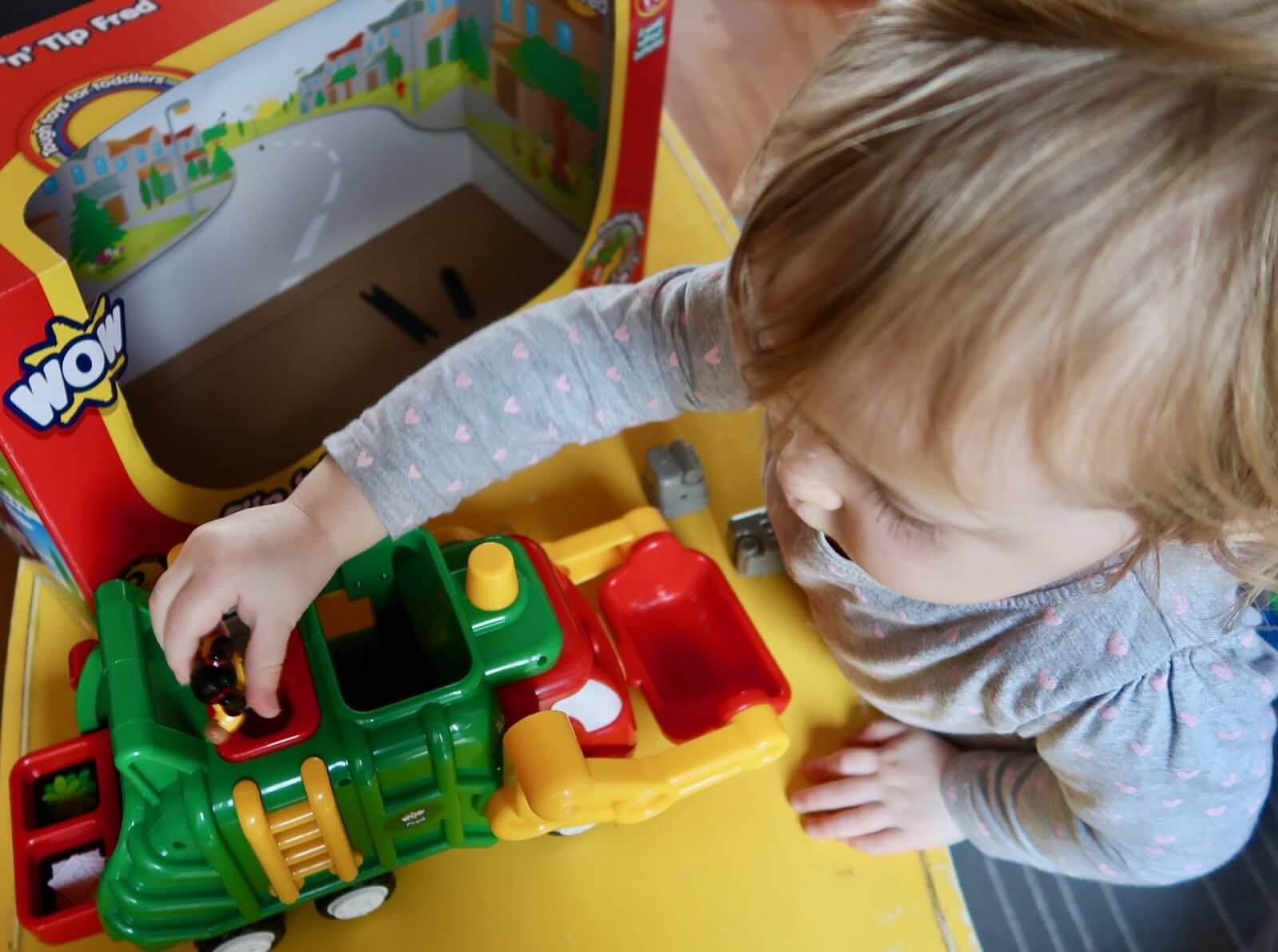 flip 'n' tip fred recycling truck wow toys review playing overhead