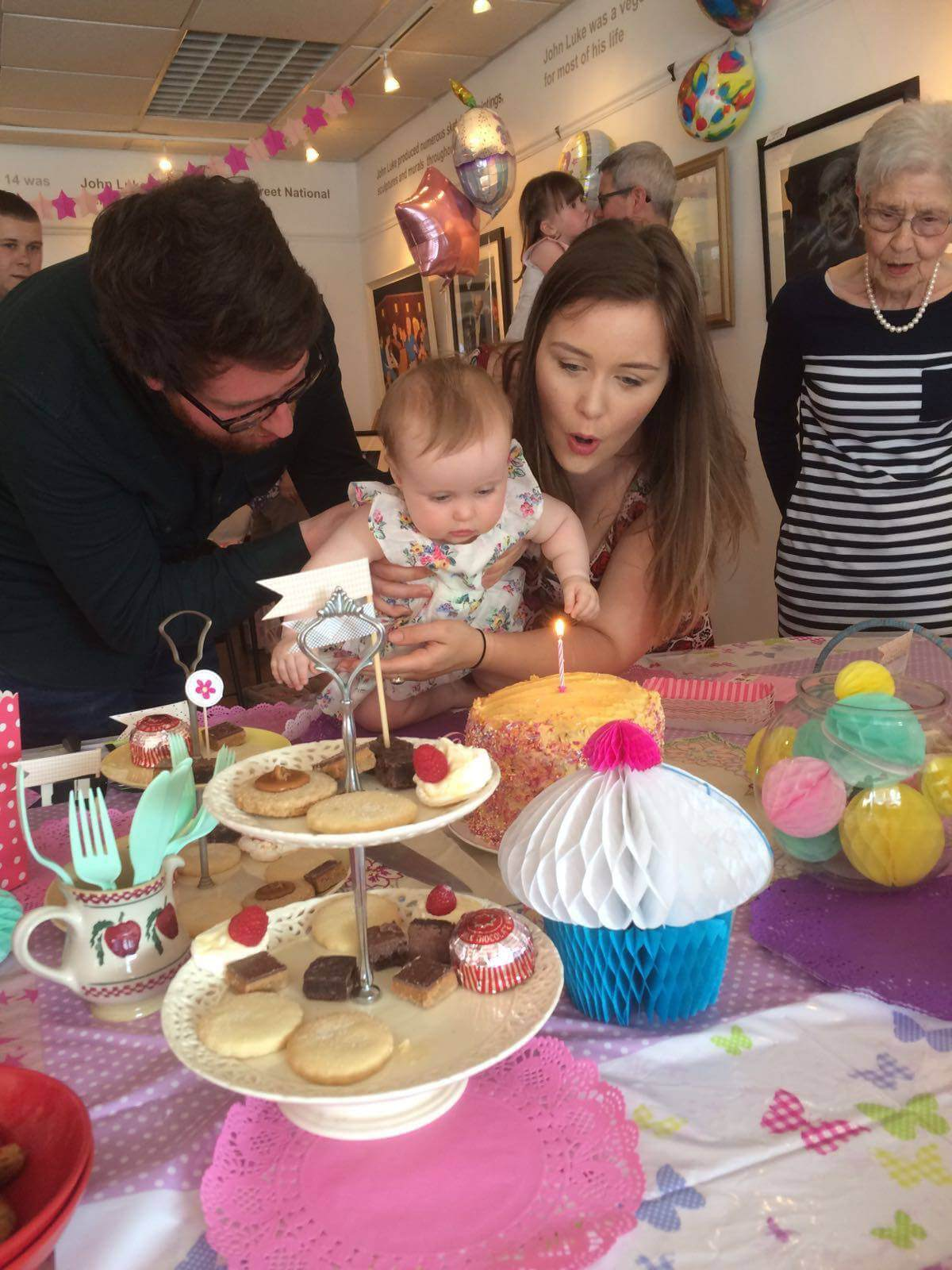 first birthday cake candle blow