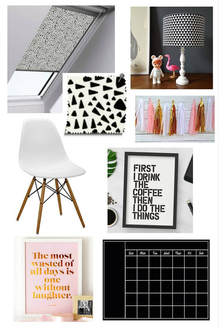Here's a bit of a mood board I made showing off how I'd design my dream office. In true blogger form there's a lot of monochrome. Sorry.