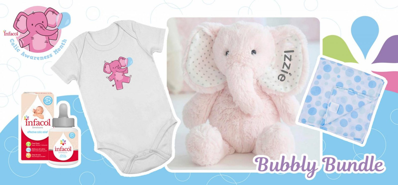 Prize image contains baby vest with pink elephant on, pale pink cuddle toy elephant and infacol